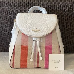 NWT Kate Spade Leila Stripe Canvas Flap Backpack